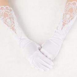 Brud Bröllop Klänning Finger Lace Satin Party Handskar