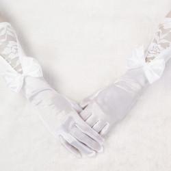 Brautkleid langen weißen Satin Handschuhe