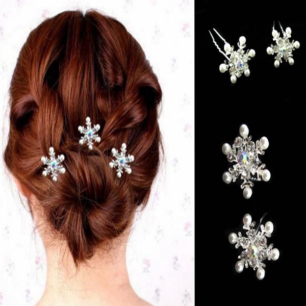 Brud Bröllop Snow Pärl Diamante U Clamp Hårnålar Damkläder