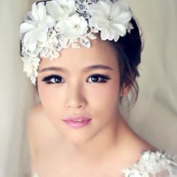 Bridal Woman Jewelry Lace Headdress Wedding Pearl Headpieces