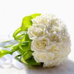 Bride Bouquet Holding Flowers Plus Beads Hvid Bryllup Supplies Dametøj