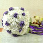 Bride Holding Flowers Bouquet Pure White With Purple Starry Creative Women's Clothing