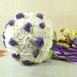 Bride Holding Flowers Bouquet Pure White With Purple Starry Creative