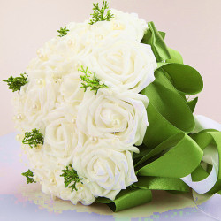 Bride Holding Flowers White With Green Wedding Bouquet Decor