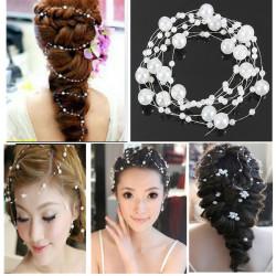 Bruden Bröllopsfest Hair Pärl Pärlstav Brud Headpiece Tiara