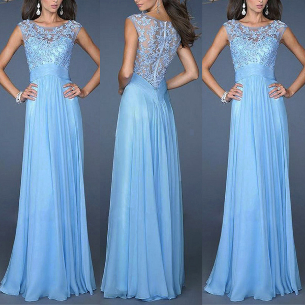 Bridesmaid Dresses Lace Long Formal Chiffon Party Ball Gowns Women's Clothing