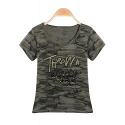 Camouflage Hær Grøn Kortærmet Rund Hals Printing T-Shirt