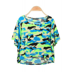 Camouflage O-Neck Batwing Sleeve Lös T-tröja