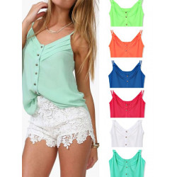 Candy Color Strap Vest For Women Chiffon Sleeveless Blouse Top