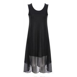 Beiläufige schwarze Chiffon Stitching Weste Kleid