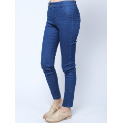Casual Blue Long Two Button Skinny Denim Pants