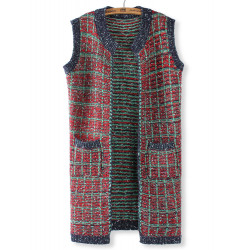 Casual Colorful Plaid O Neck Sleeveless Yarn Knit Cardigan Sweater