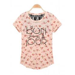 Casual Blomsten Og Words Prints Mesh Half Tilbage Kortærmet T-Shirt