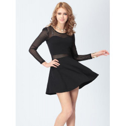 Casual Lace Splicing Long Sleeve O-neck Sheath Dress