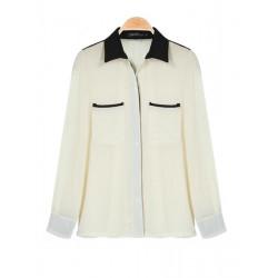 Casual Long Sleeve Beige Chiffon Turndown Collar Blouse