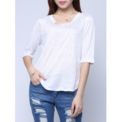 Casual Loose Asymmetry Hem 1/2 Sleeve Cotton T-shirts