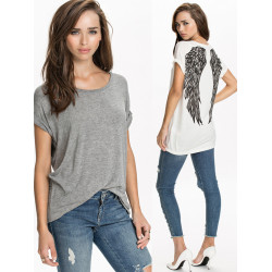 Casual Loose Back Angle Wings Short Sleeve T-shirt Plus Size