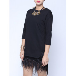 Casual Loose O Neck 1/2 Sleeve Ostrich Hair Hem Blouse Sweatshirt