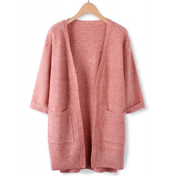 Casual Loose Plus Size Solid Color Slit Hem Wool Knitted Cardigan