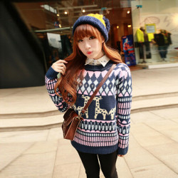 Casual Loose Pullover Knitted Striped Giraffe Sweater Knitwear