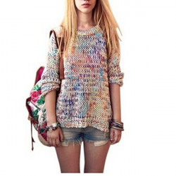 Casual Multi Color Long Sleeve Knitted Pullover Sweater