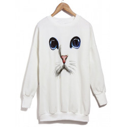 Casual O-Neck Blue Eyes Cat Printed Långärmad Cotton T-shirts