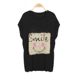Casual Smiling Face Printed Pattern Batwing Sleeve T-Shirt