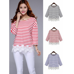 Casual Women Batwing Sleeve Lace Cotton Loose Striped T-shirt