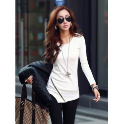 Beiläufige Frauen Langarm unregelmäßiger Rand Zipper O Ansatz T Shirt