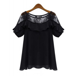 Casual Women Plus Size Lace Chiffon Loose Short Sleeve Blouse