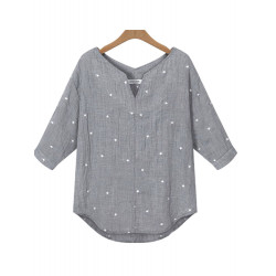 Casual Women V Neck Half Sleeve Loose Stars Printed Blouse