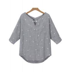 Casual Kvinder V Neck Half Sleeve Loose Stjerner Trykt Bluse