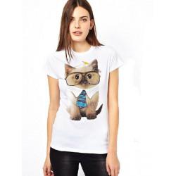 Cat Print Brief Regular Short Sleeve White O-Neck T-Shirt