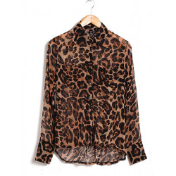 Chiffon Leopard Button Blouse