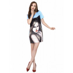 Farbblock Mädchen Druck Crop schlanken blauen Kleid