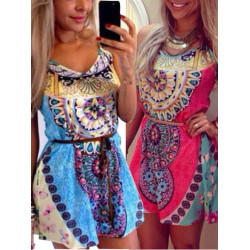 Colorful Floral Print O-Neck Spaghetti Strap Sleeveless Loose-Fitting Dress