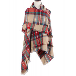 Colorful Plaid Tassel Hem Soft Wrap Halsduk