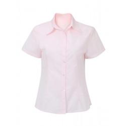 Bomull Kortärmad Pure White Pink SkyBlue Korsett Professional Blus