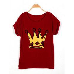 Crown Figur Lös Bomull Kortärmad T-Shirt