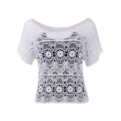 Daisy Knitted T-shirt with Hollow Out Detail