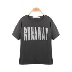Mörkgråa Kortärmad O-Neck Print Lös T-tröja