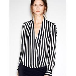 Dyb V Collar Langærmet Sort Hvid Stripe Chiffon Kvinder Shirt