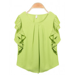 Drape Short Sleeve Round Collar Chiffon Blouse
