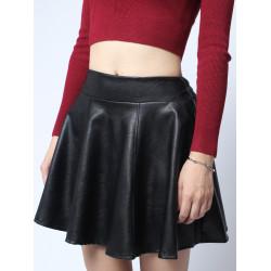 Elastische hohe Taillen PU Lederrock Falten Short Skirt