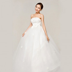 Elegant White Tube Top Strapless Long Gown Bride Wedding Dress