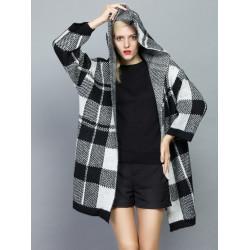 Europe Style Black & White Plaid Hooded Slim Warm Cardigan Coat