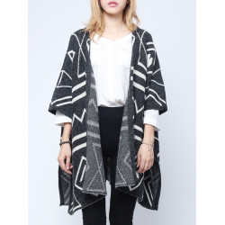 Europe Style Geometry Black Cardigan