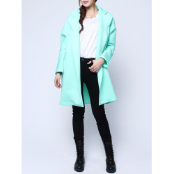 Europe Style Space Cotton Outerwear Green Long Sleeve Cardigan Coat