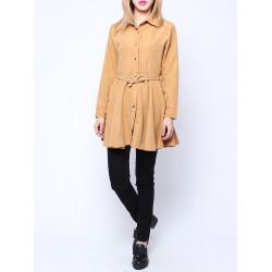 European Style Women Casual Suede Windbreaker Long Sleeve Slim Coat