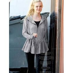 European Style Women Long Sleeve Slim Lotus Leaf Hooded Sweatshirt